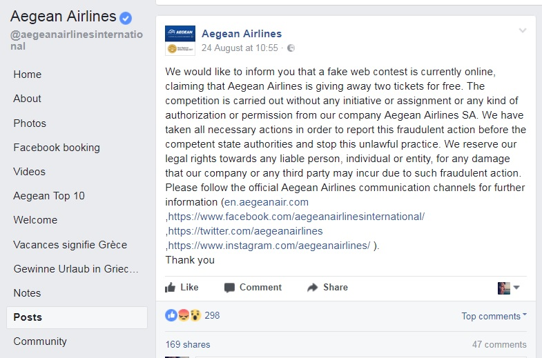 Aegean Airlines on Facebook