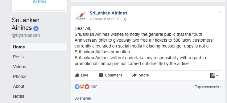 SriLankan Airlines on Facebook