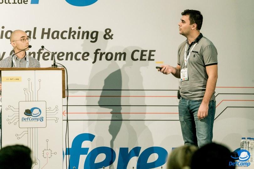 Alex Stoian si Catalin Patrascu, CERT-RO, la DefCamp 2017